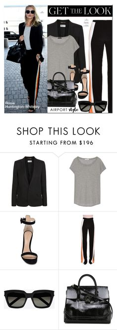 """Get the look : Airport Style"" by monica-dick ❤ liked on Polyvore featuring Yves Saint Laurent, James Perse, Gianvito Rossi, STELLA McCARTNEY, Versace, Whiteley, GetTheLook and airportstyle"