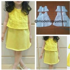 Basic kids dress pattern 😍 Order by line Girls Frock Design, Baby Dress Design, Kids Dress Wear, Kids Gown, Baby Frocks Designs, Kids Frocks Design, Frocks For Girls, Little Girl Dresses, Baby Girl Fashion