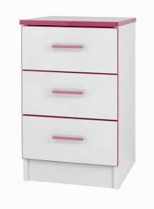 One Call Furniture Kiddi Pink Bedside 3 Drawer Chest White Melamine and Pink Edging Childrens Bedroom Furniture, Shaggy Rug, White Chests, 3 Drawer Chest, Pink Kids, Bed Mattress, Hand Weaving, Cool Things To Buy, Drawers