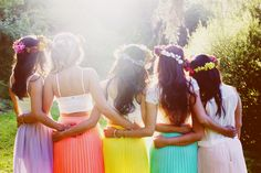 colourful bridesmaid dresses - Google Search Would be so fun to do with friends for purim!