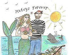 nantucket mermaid | mateys forever greeting card 13 00 usd nantucketmermaid