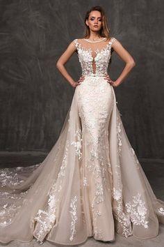 d19e7d7b5 2017 Scoop vaina de los vestidos de novia Tulle con Applique Abrir tren  trasero de la