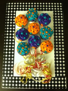 Birthday cupcakes...balloon style! More red velvet with buttercream icing.