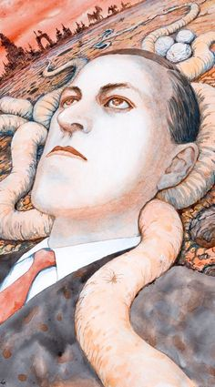 Portrait of HP Lovecraft done by Junji Ito.