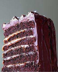 Salted-Caramel Six-Layer Chocolate Cake - http://www.purecipes.com/salted-caramel-six-layer-chocolate-cake-recipe/ .  #ChocolateCake #Cakes, #Dessert