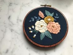 "Hand Embroidered Hoop Art Floral Flower 4"" Stained Hoop Embroidery by HoffeltAndHooperCo on Etsy"