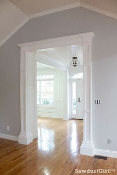 How to build big, bulky, decorative columns DIY: How to Build Decorative Columns for a Doorway - using stock lumber, MDF and trim mouldings. This is an excellent tutorial that shows each step - via Sawdust Girl: House, Home Projects, Home, Home Remodeling, Home Renovation, Moldings And Trim, Home Diy, House Trim, Remodel Bedroom