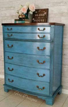 Vintage Mahogany French Blue Dresser-Chest with 5 #paintedfurniture #affiliate