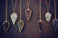 ARROWHEAD NECKLACES /// Electroformed Gemstone by luxdivine