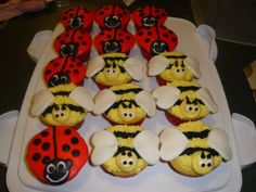 bumble bee cookies, and ladybugs