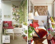 Como decorar sua varanda pequena • MeuEstiloDecor Small Space Living, Small Spaces, Living Spaces, Ladder Decor, Bed, Furniture, Home Decor, Balconies, Small Porch Decorating