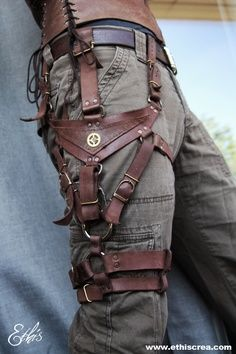 4-8-15  This holster setup is just dying for something to be carried on it. Very Steampunk / Wild West.
