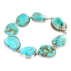 Kingman Turquoise Sterling Silver Rimmed Bracelet  by NewWorldGems