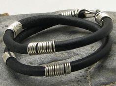 FREE SHIPPING Men's leather bracelet Black leather by eliziatelye, $24.00