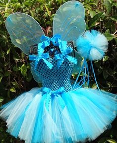 Little Halloween Fairy Tutu Costume with Sparkly Wings, fairy wand and hair bow