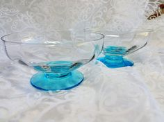 2 Vintage Blue Glass Dessert Goblets Dishes Elegant