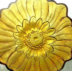 Sunflower-Embossed Amber Glass Lily Pons bowls by Indian Glass Pattern 605