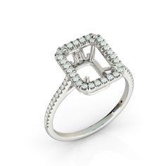 Radiant Halo Semi Mount .60 Round Diamond Bridal Engagement Ring 14k White Gold  | eBay