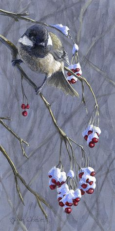 """Winter Harvest 1"" By Karen Whitworth By Karen Whitworth Who doesn't love Black Capped Chickadees!? :) This cute little winter bird is available on cards, prints, tote bags & more. Get yours here: http://fineartamerica.com/featured/winter-harvest-1-chickadee-and-berries-painting-karen-whitworth.html"