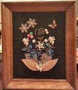 One of a kind vintage jewelry art, 9 by 12 inches with a new black felt background