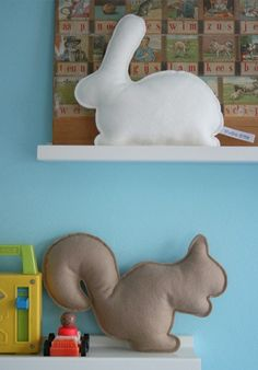 rabbit & squirrel felt pillow