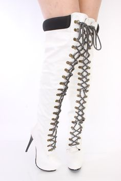 Stiletto Faux Leather Lace Up Boot with Faux Fur Trim | Heel boots