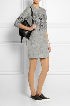KENZO   Tiger-embroidered cotton sweatshirt mini dress   NET-A-PORTER.COM