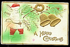 Santa Claus Embossed with Bells 1910 Postcard. Click on the image for more information.