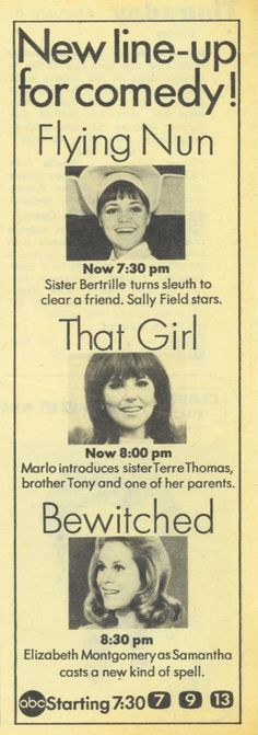 1969 TV Guide Ad Bewitched Flying Nun That Girl ABC TV Thursday Night Promo Ad. I remember watching all 3 of these shows. Oh, the good old days...