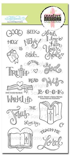 This high quality photopolymer stamp set is the second of many new sets to come by the talented artist, Krista Hamrick, for our Bible journaling and faith-based stamping/crafting line.  ~ Stamp set includes 25 stamp-a mix of words, images & phrases ~ Stamp set measures approximately 4 x 8 ~ The Bible with the cross on the binding image measures approximately 1 1/2 x 1 1/2 ~ Illustrated by Krista Hamrick ~ Made in the USA