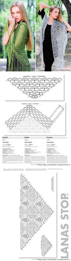 Две ажурных шали крючком, #haken, gratis schema, omslagdoek, shawl, (eel veel gratis schema's) #crochet, free chart, diagram, shawl, wrap (lots of free diagrams charts)