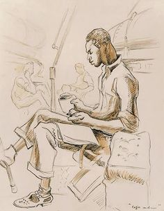 ART & ARTISTS: Thomas Hart Benton - part 4 WWII Anton, Submarine Museum, Ink Wash, Painters, Printmaking, Wwii, Illustrators, Oil On Canvas, Old Things