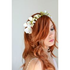 White flower crown, wedding headband, dogwood crown, bridal headpiece,... ($77) ❤ liked on Polyvore featuring accessories, hair accessories, flower crown, bridal flower hair accessories, crown headband, bridal floral crown and white flower headband
