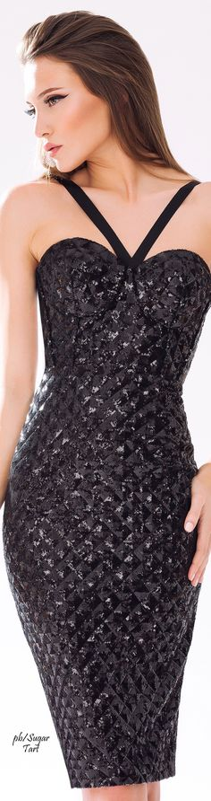 Cristallini ~ Fitted Black Halter Cocktail Dress 2015