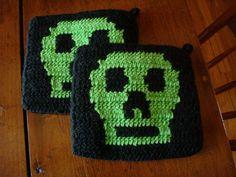 Green and Black Skull Potholders for Men - Hoooked Potholders - Gift for Him - Men - Man - Guy - Kitchen Decor - Potholder - Pot Holder by HoookedHandmade, $20.00