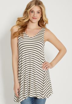 the 24/7 tunic tank with stripes in navy blue (original price, $26.00) available at #Maurices