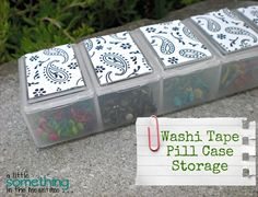 A Little Something in the Meantime: Washi Tape Pill Case Storage for embellishments etc.