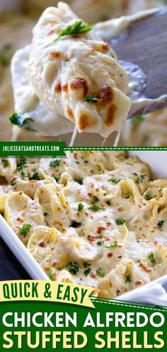 This contains: Chicken Alfredo Stuffed Shells, comfort food, family dinner ideas Chicken Alfredo Stuffed Shells, Stuffed Shells Recipe, Stuffed Pasta Shells, Jumbo Pasta Shells, Dinner Recipes, Dinner Ideas, Family Meals, Yummy Food, Tasty