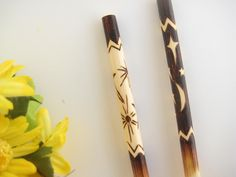 Bamboo Chopsticks, Sun and Moon, Black and White, Asian Serving, Wood Anniversary Gift, Personalized Chopsticks, Pyrography Art Chopsticks by RivdomArt on Etsy https://www.etsy.com/listing/99251769/bamboo-chopsticks-sun-and-moon-black-and