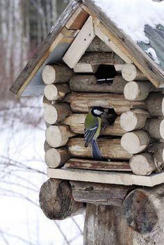 Casinha de tocos de madeira