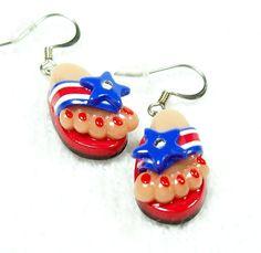 Flip Flop Dangle Earrings Handmade Beads from by MyStudio91, $11.00