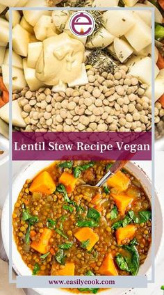 """Lentil Stew Recipe Vegan. INGREDIENTS 2 medium shallots, thinly sliced 1 tbsp. finely chopped peeled fresh ginger 1 tbsp. vegetable oil 1 tsp. ground coriander 1/2 tsp. ground cardamom 1 small butternut squash, peeled, seeded and cut into 1 1/2"""" chunks 1 lb. green lentils, picked over... CLICK ON THE PICTURE TO GET FULL RECIPE WITH INSTRUCTIONS.... #lentilstewvegan #lentilstewcrockpot #lentilstewvegetarian #redlentilstew #lentilstewinstant pot #lentilstewrecipes #beeflentilstew"""