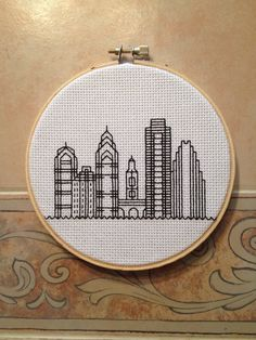 A cross stitch for all the Philadelphia lovers in your life! This stitch features some of the buildings that line the Philadelphia skyline. The thread