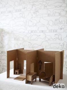 DIY: Cardboard dollhouse for children