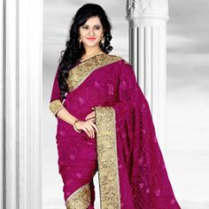 Looking for latest designer party wear sarees or traditional party wear sarees? Shop online from the party saree collection at Utsav Fashion for fancy party sarees. Red Saree, Saree Blouse, Sari, Party Wear Sarees Online, Party Sarees, Fancy Party, Blouse Online, Saree Collection, Glamour