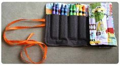 Crayon Pouch. Great idea for a Sunday Bag--Instead of all the crayons just broken at the bottom of the bag. ..