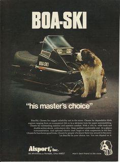 1973 Alsport Boa-Ski Snowmobile Ad St Bernard Dog Ad