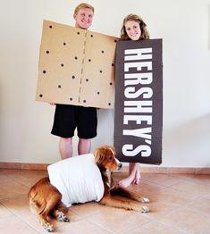 Family Halloween Costume. DIY S'mores costumes with dog. via Little Sloth blog