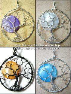 Wire wrapped tree of life ornament pendants tutorials and english beautiful full moon tree of life pendants phoenixfiredesigns mozeypictures Image collections