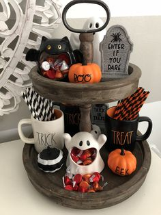 I love my adorable Halloween Rae Dunn inspired tiered tray. Just the the right amount of Halloween decor. I love my adorable Halloween Rae Dunn inspired tiered tray. Just the the right amount of Halloween decor. Spooky Halloween, Diy Halloween Decorations, Halloween Party Decor, Holidays Halloween, Halloween Snacks, Halloween Crafts, Halloween Kitchen Decor, Farmhouse Halloween, Fall Kitchen Decor